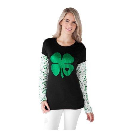 a8e915fd Juniors St. Patrick's Day Lucky Shamrock Long Sleeve T-Shirt - image 2 ...
