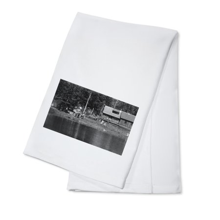Sattley, California - View of Delaney's Rainbow Trout Lake (100% Cotton Kitchen Towel) - Rainbow Dash 20