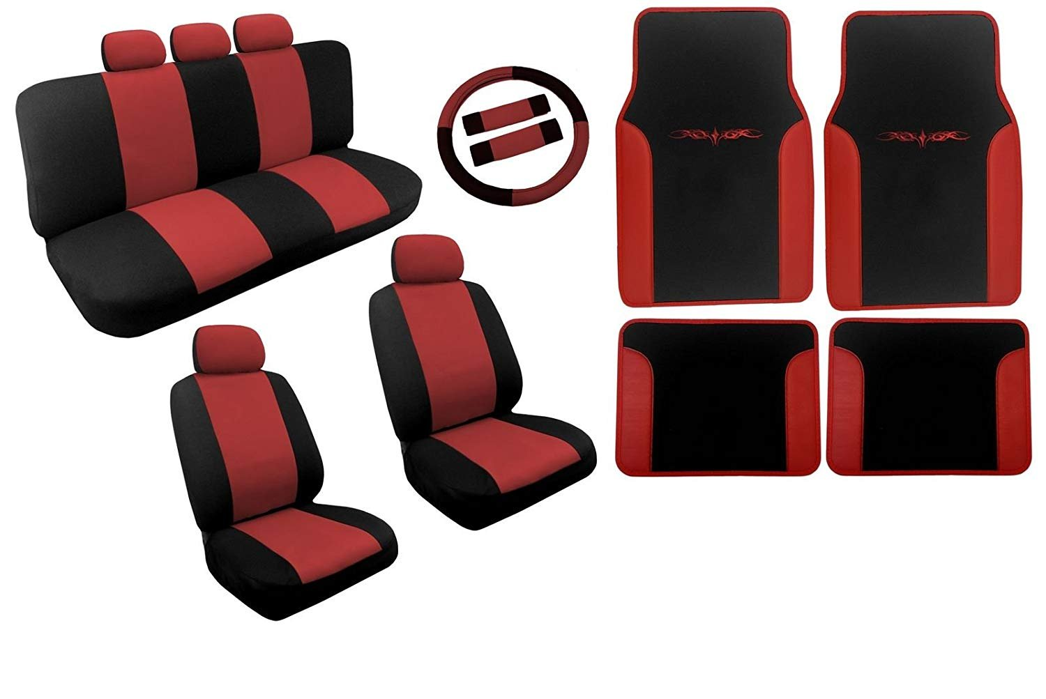 Black And Red Dual Color Seat Covers Two Tone Tribal Floor