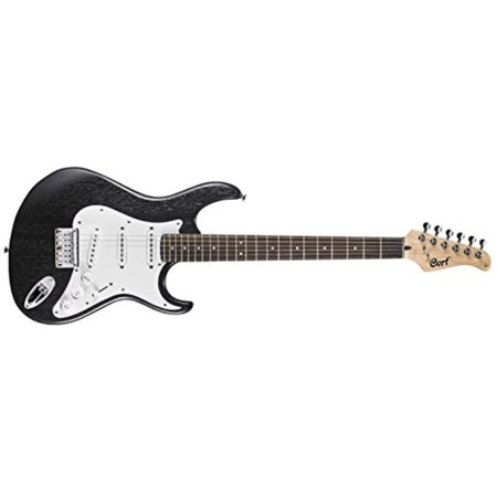 Cort G100OPB Double Cutaway Electric Guitar 3 Single Coil Pickups, Open Pore Black ()