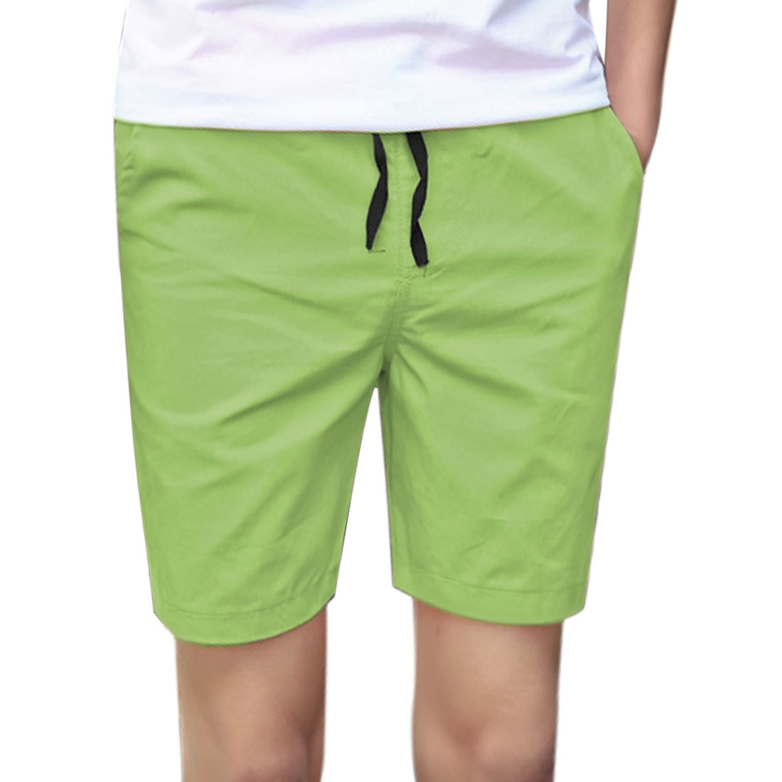 Azzuro Men's Drawstring Elastic Waist Straight Leg Shorts Green (Size S / W30)