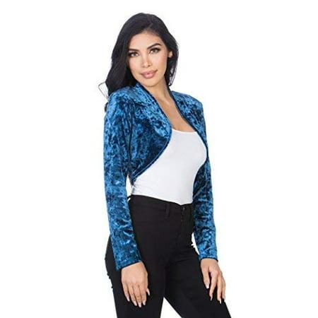 Pink Shrug - Fashion Secrets Women`s Collarless Open Front Velvet Bolero Shrug Cardigan Cropped Jacket (Denim Blue, Medium)
