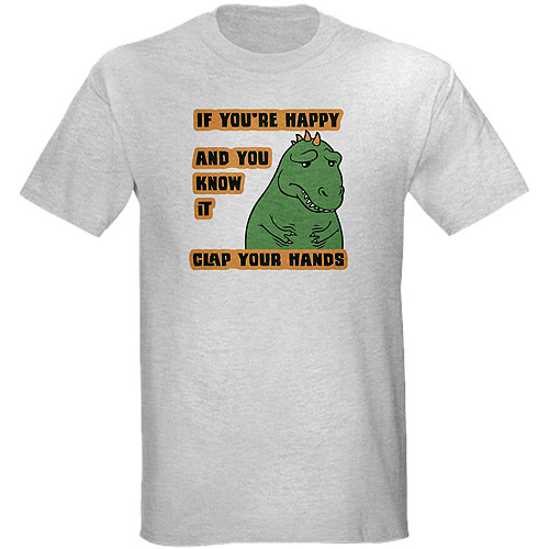 Cafepress Men's T-Rex Can't Clap Graphic Tee
