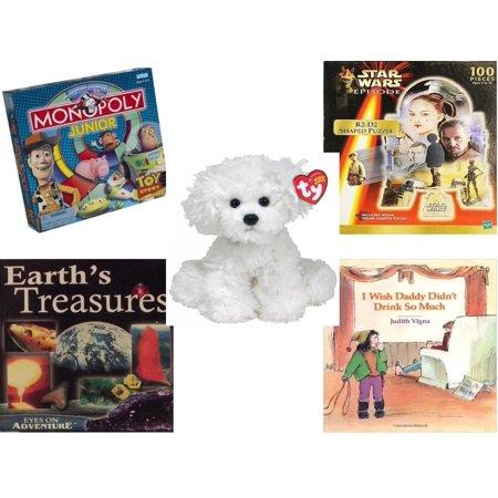 Children's Gift Bundle [5 Piece] - Story Monopoly Junior - Star Wars  Episode I R2-D2 Shaped - Ty Lollipup Bichon Frise 5