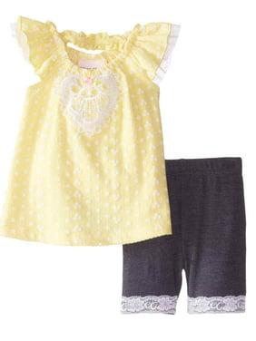 Little Lass Infant Girls Yellow Daisy Top & Shorts Outfit 2 Piece Set 12 Months