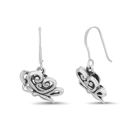 Willowbird Women's Polished Butterfly Design Hook Earrings in Oxidized Sterling Silver ()