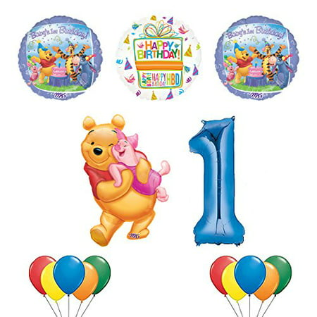 Winnie the Pooh, Piglet and Friends 1st Birthday Party Supplies and Balloon Bouquet Decorations (1st Birthday Party City)