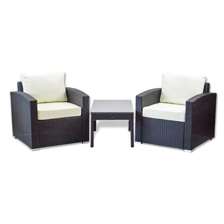 Patio Outdoor Set of 2 Chair Resin Wicker Garden Furniture and Coffee Table Handmade Yard Modern Design, Black ()