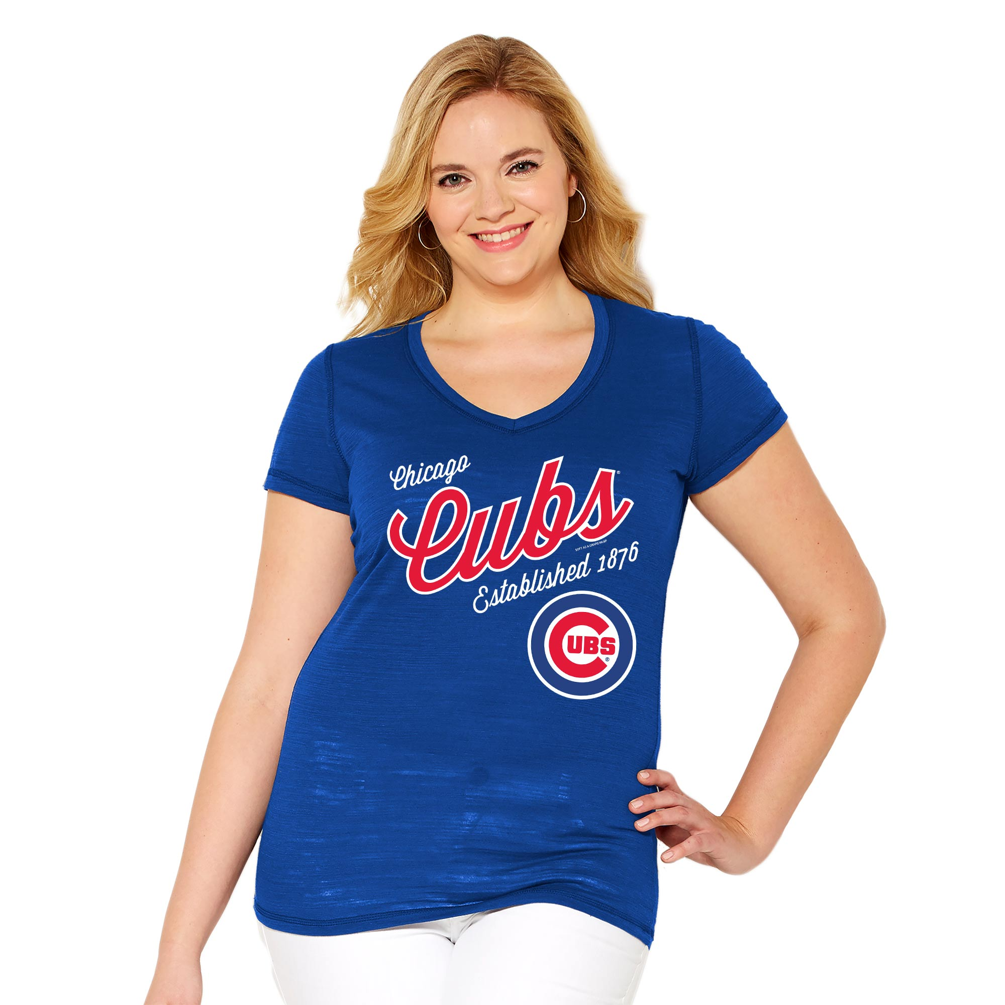 Chicago Cubs Soft As A Grape Women's Plus Size Fastball V-Neck T-Shirt - Royal