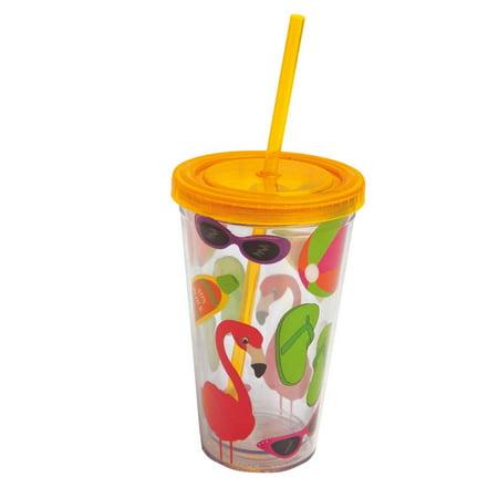 08382fda210 Summer Fun,Insulated Cup with Straw 17 oz,Tumbler,4x4x6.25 Inches -  Walmart.com