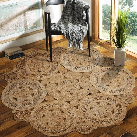 - LR Home Natural Jute Floral Fantasy Hand Braided Round Indoor Area Rug (8' x 8')