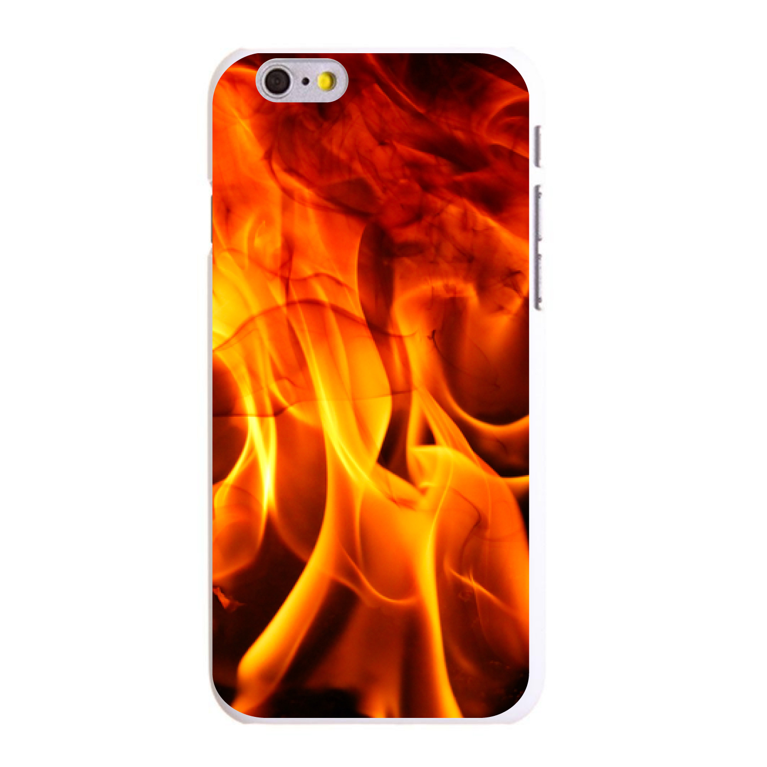 """CUSTOM White Hard Plastic Snap-On Case for Apple iPhone 6 / 6S (4.7"""" Screen) - Red Black Flame Fire"""