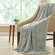 """Amrapur Oversized Cable Knit Diamond 100% Cotton Throw Blanket, 50"""" x 70"""", Antique White"""