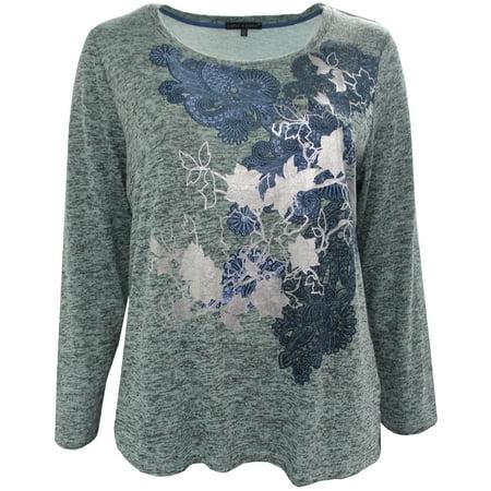 Plus Size Women's Long Sleeve Floral Foil Print Knit Blouse Tee T Shirt Top Heather Aqua 1X (16047)