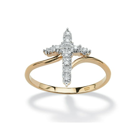 Accented Cross Ring (White Diamond Accent Cross Ring in 18k Gold over Sterling Silver)