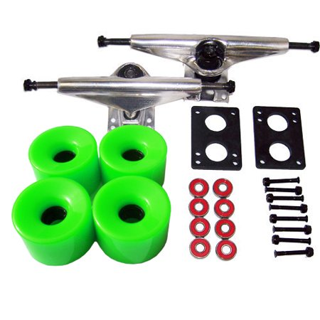 LONGBOARD Skateboard 6' TRUCKS 76mm GREEN WHEEL