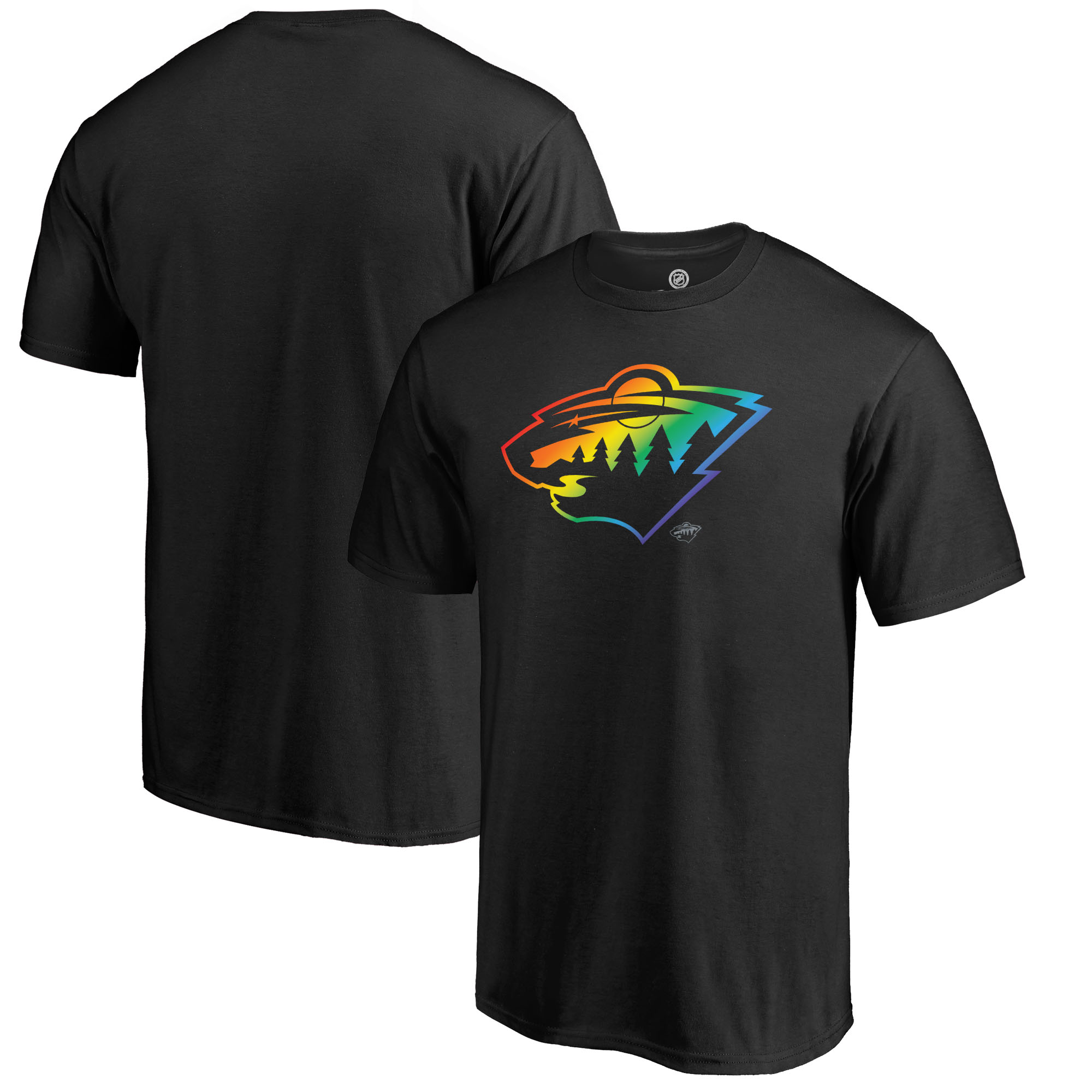 Minnesota Wild Fanatics Branded Rainbow Pride Logo T-Shirt - Black