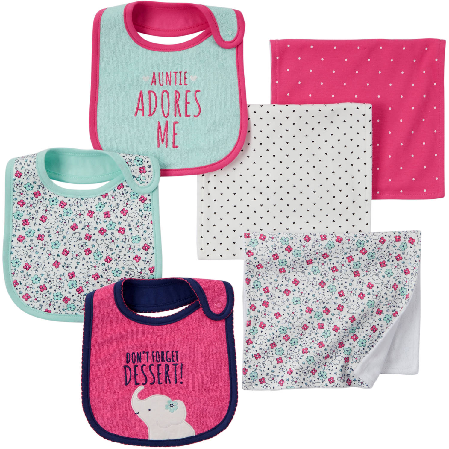 Child of Mine by Carter's Newborn Baby Girl Bib And Burpcloth 6-Piece Set
