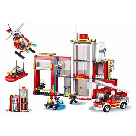 Sluban Fire Station Helicopter Fireboat Ladder Truck Firefighting Series  Blocks Vehicle Bricks Toy Fits LEGO