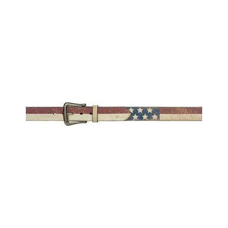Belt Mens Western Leather Distressed Flag Vintage Red White 8915