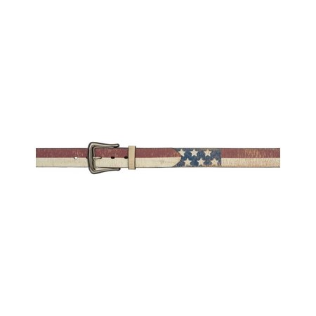 3D Belt Mens Western Leather Distressed Flag Vintage Red White 8915