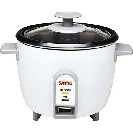 Sanyo Rice Cooker, Vegetable Steamer, 3 Cup, White