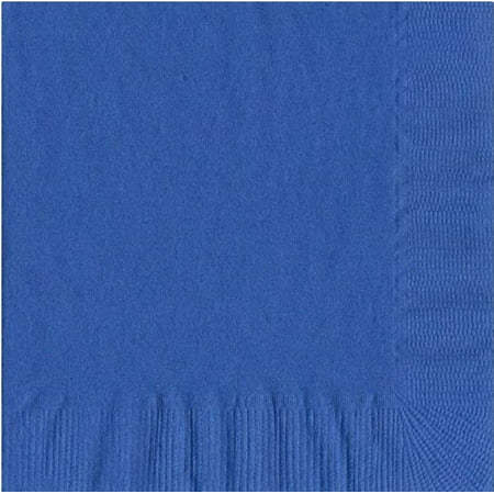200 -  (4 Pks of 50) 2 Ply Plain Solid Colors Luncheon Dinner Napkins Paper - Royal Blue