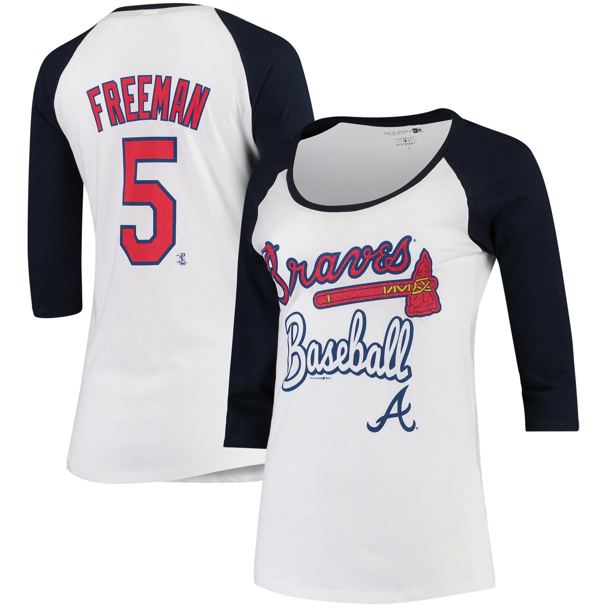 Freddie Freeman Atlanta Braves 5th & Ocean by New Era Women's Glitter 3/4-Sleeve Raglan T-Shirt - White/Navy