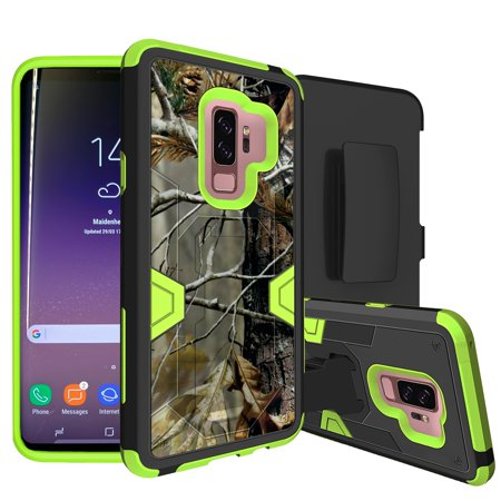 Neon High-Impact Samsung Galaxy S9 Plus Case w/ Hybrid Silicone & Hard Exterior [MINITURTLE MAX DEFENSE GREEN SERIES for Galaxy S9 Plus] Holster + Kickstand Case for Galaxy S9 + - Fallen Branch Camo](Mini Turtles)