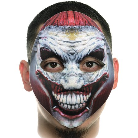 Creepy Fabric Form Fitting Crazy Clown Face Mask Costume Accessory (Paint Your Face Clown)
