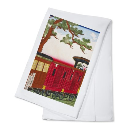 Steam Train Japanese Wood-Cut Print (100% Cotton Kitchen Towel)