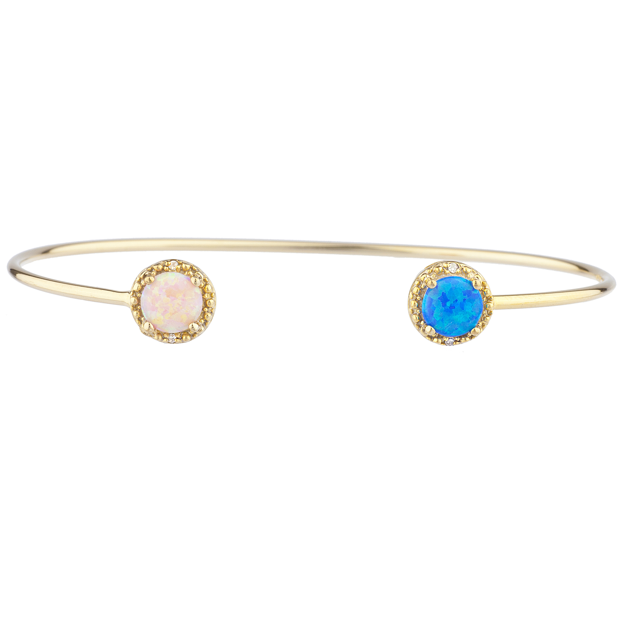 Blue Opal & Pink Opal Diamond Bangle Round Bracelet 14Kt Yellow Gold Plated Over .925 Sterling Silver by Elizabeth Jewelry Inc