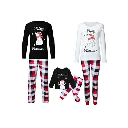 Christmas Family Matching Pyjamas Pajamas Set Xmas Santa Reindeer Sleepwear Nightwear Outfit Adult Dad Mom Kids Family PJs Matching 2PC Set Xmas Gifts Loose Tops +Print Pants PJs Suit ()