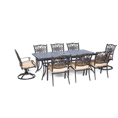 Hanover Outdoor Traditions 9-Piece Dining Set with Extra-Long Table and 2 Swivel Rockers, Natural Oat/Bronze