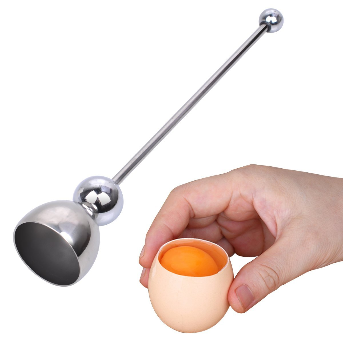 PROKITCHEN Eggshell Topper Cutter Remover Stainless Steel Egg Shell Cracker Opener Separator for Removing Raw,Soft or Hard Boiled Eggs