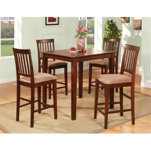 Wooden Imports Furniture VN5-MAH-C 5PC Vernon Pub Counter Height Square Table & 4 Microfiber