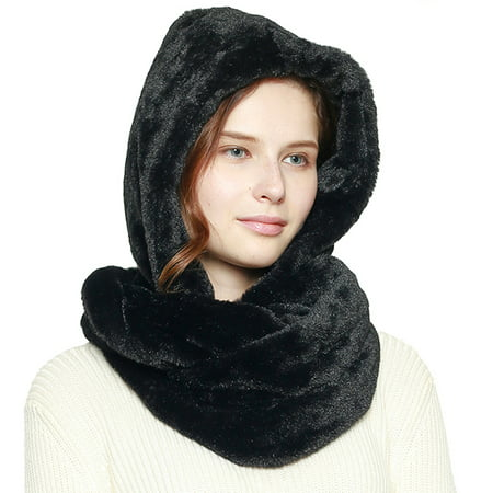Unique Fashion 21 Women's Soft Faux Fur Infinity Hood Scarf Head Scarf Wrap Hoodie Hat Scarf