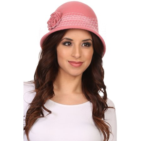 Sakkas Lola Vintage Style Wool Cloche Bucket Fish Net With Flower Brim Cap Hat - Blush Pink - OS - Fish Hat
