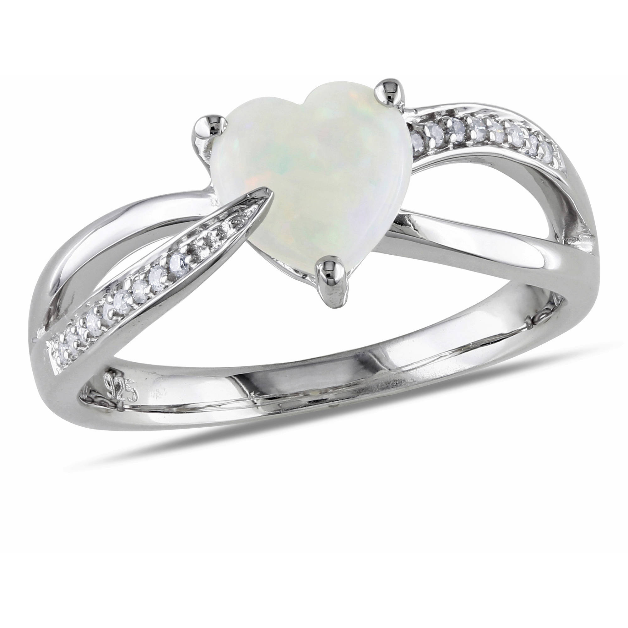 Miabella 7/8 Carat T.G.W. Opal and Diamond-Accent Sterling Silver Heart Ring