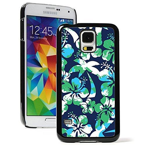 Samsung Galaxy (S5 Mini) Hard Back Case Cover Blue Green Hibiscus Palm Trees Pattern (Black)