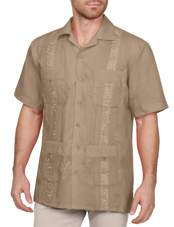 Bill Blass Solid Beige Button Down Short Sleeve Casual Cotton Shirt Mens Size M