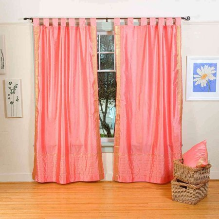 Pink  Tab Top  Sheer Sari Curtain / Drape / Panel  - Piece