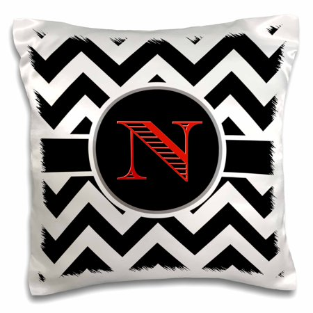3dRose Black and white chevron monogram red initial N - Pillow Case, 16 by 16-inch - Red And White Chevron