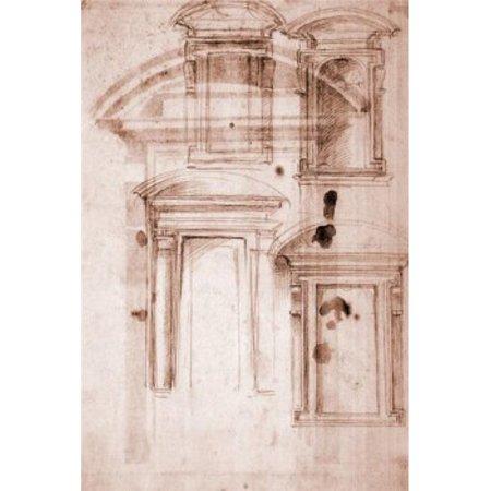 Posterazzi SAL3815397420 Doorway Design by Michelangelo Buonarroti 1475-1564 Italy Florence Galleria degli Uffizi Poster Print - 18 x 24 in. - image 1 de 1