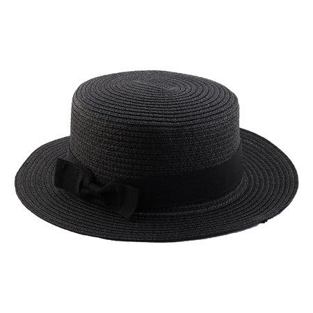 Woman Ribbon Decor Wide Brim Braided Summer Beach Straw Cap Sun Hat (Black Summer Hat)