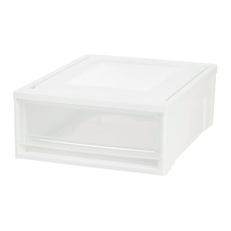 IRIS Shallow Plastic Box Chest Drawer Unit, White, 1 Drawer ()