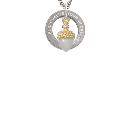 Two-tone Small Acorn with Crystals Custom Engraved Affirmation Ring Necklace