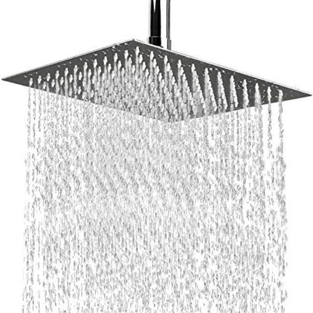 Rain Shower Head 12 Inch Large Square High Pressure Waterfall Stainless Steel Showerhead Ultra Thin Rainfall High Flow Adjustable Fixed Shower Head With Polish Chrome Finish Walmart Com Walmart Com