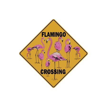 Funny Flamingo Wall Decor, Novelty Flamingo Crossing Metal Signs, Quirky Wall Decor for Home and Office, 12 x 9 Flamingo Metal Signs for Girl's Bedroom, Fun Flamingo Sign Kitchen or Bedroom - Funny Hobo Signs For Halloween