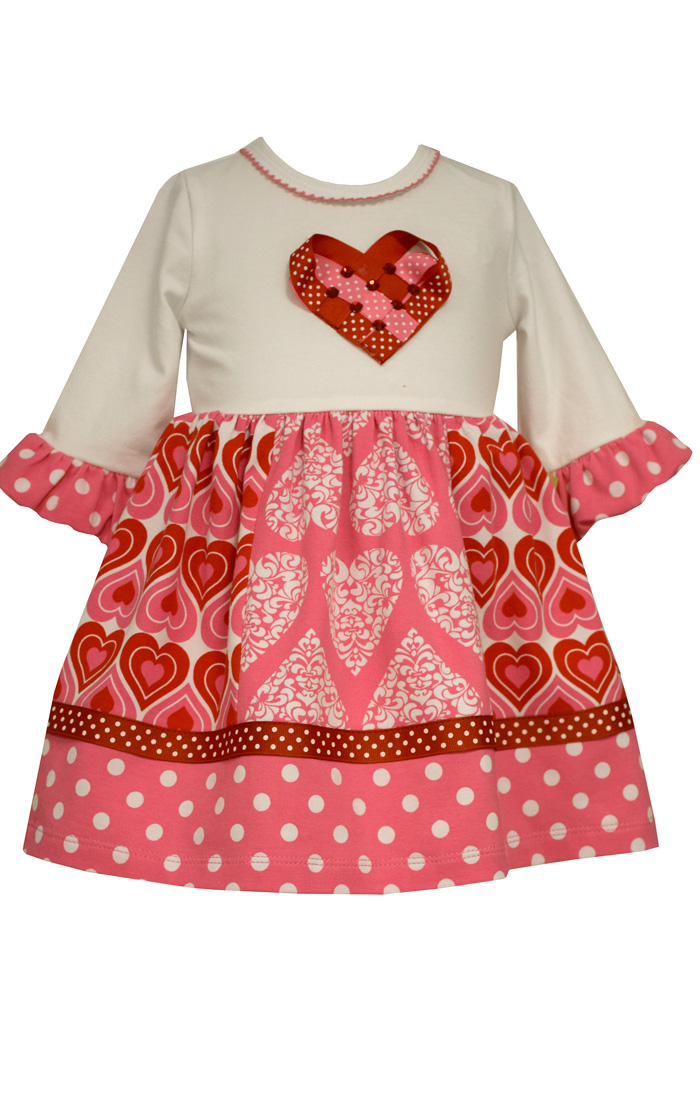 Bonnie Jean Girls Paneled Hearts Valentines Day Dress 24 months